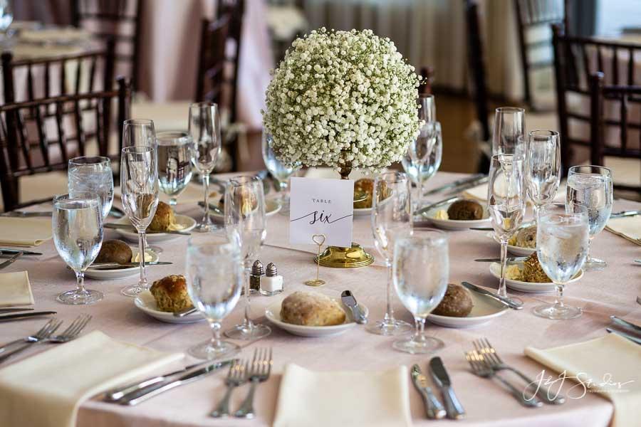 centerpieces of baby's breath radnor hunt wedding