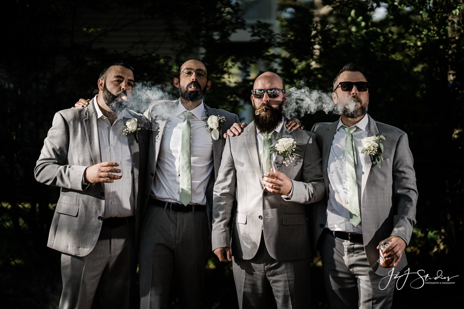 grooms smoking undercrown cigars by john ryan j&j studios