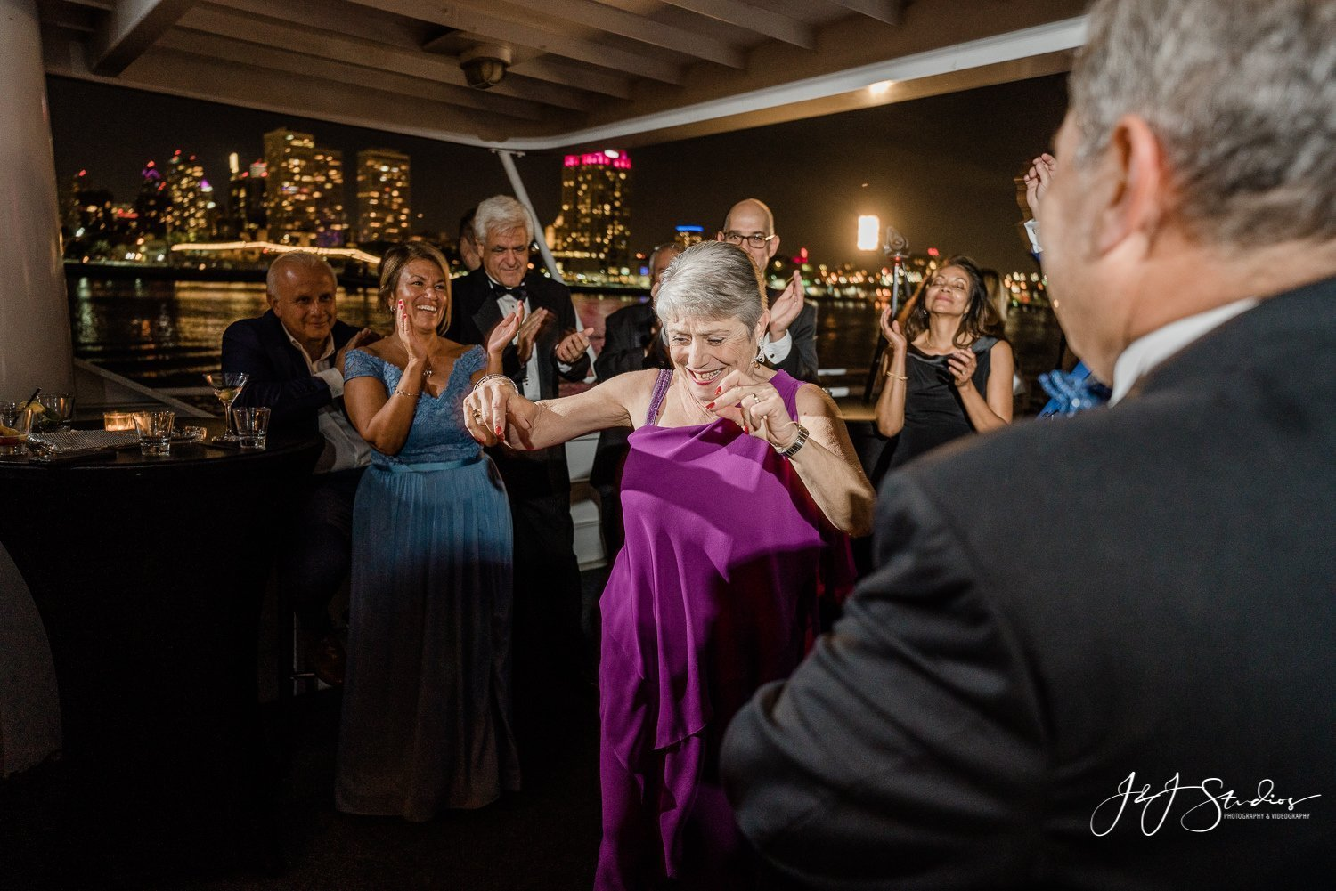 dancing wedding guests on elite private yacht charter philly