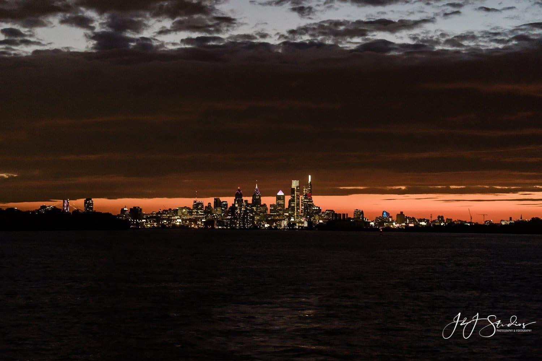 city of philadelphia from delaware river at night