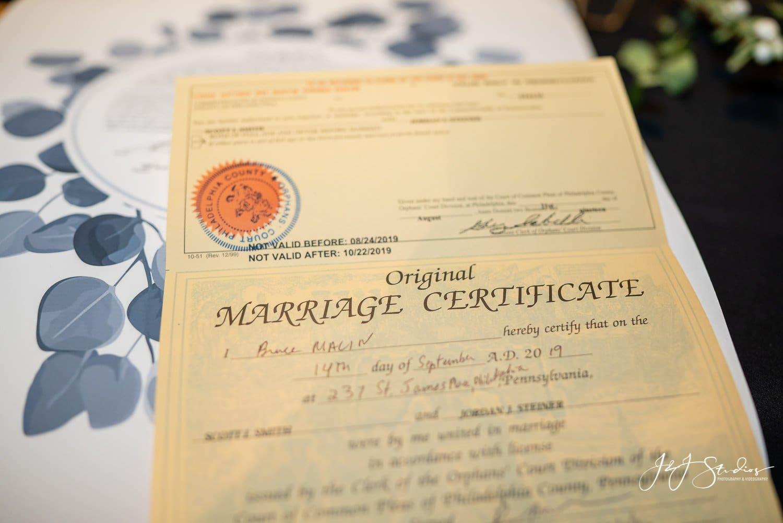 marriage certificate at zahav