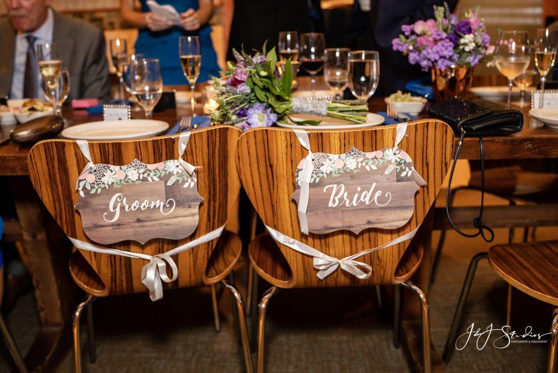 bride and groom plaque seats at zahav