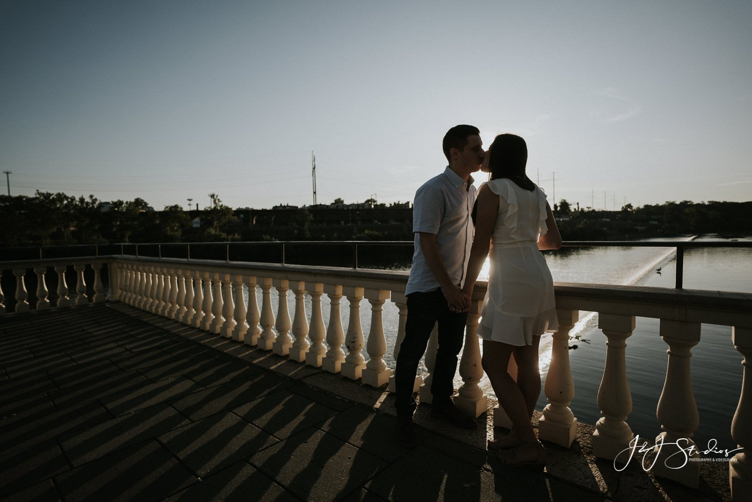 Fairmount Water Works kissing engagement couple
