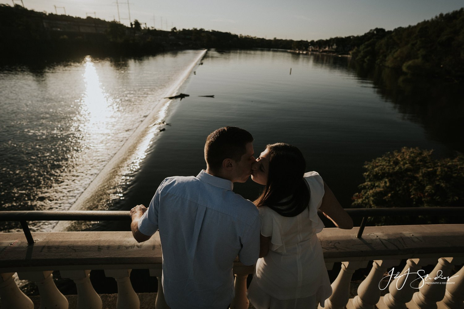 engagement shoot at water works overlooking Schuylkill River