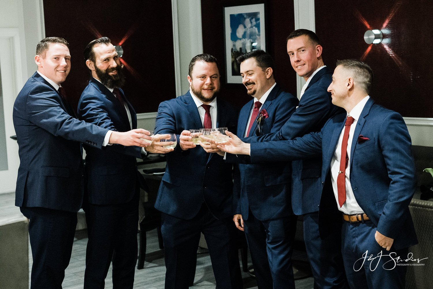 groomsmen toast at Westin Philadelphia bar