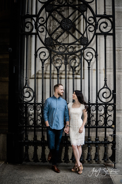 Philadelphia city hall huge iron gate engagement photo