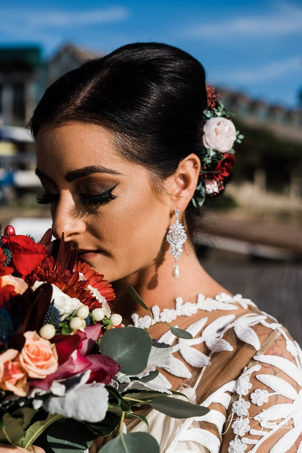 bridal hair and make up close up