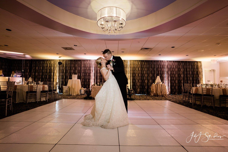 bride and groom in empty reception area