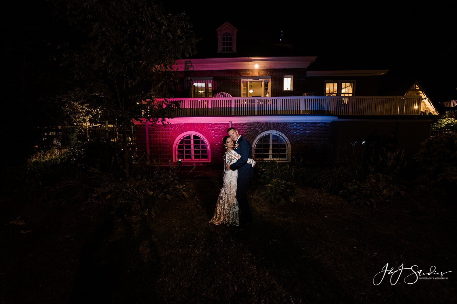 night portrait boathouse row wedding