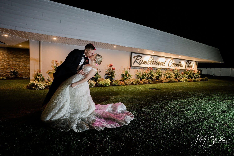 night time bride groom portrait