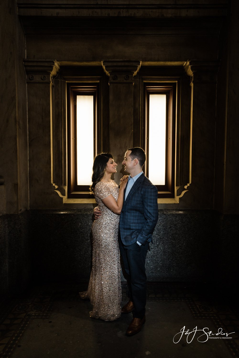city hall silhouette philly engagement
