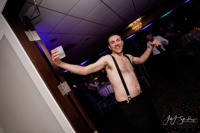 drunk shirtless groomsmen at wedding nj