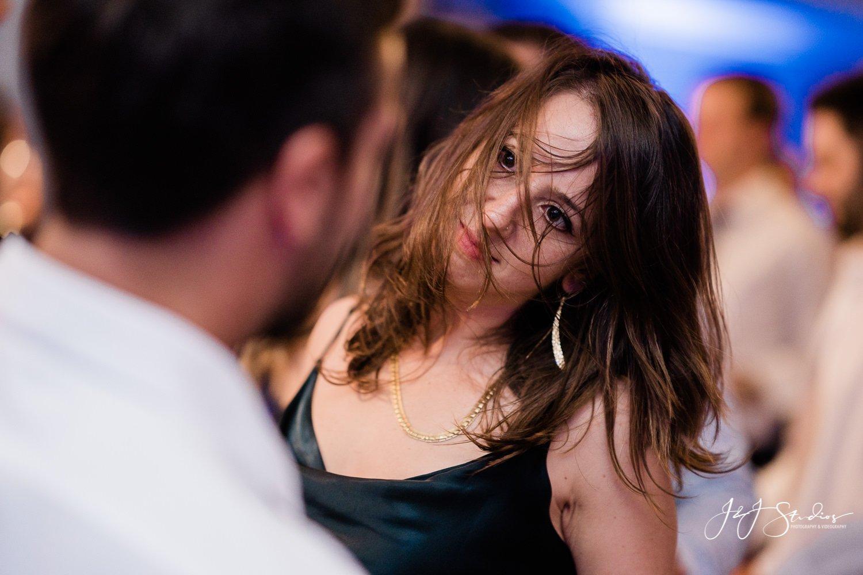 crazy dancing at wedding reception