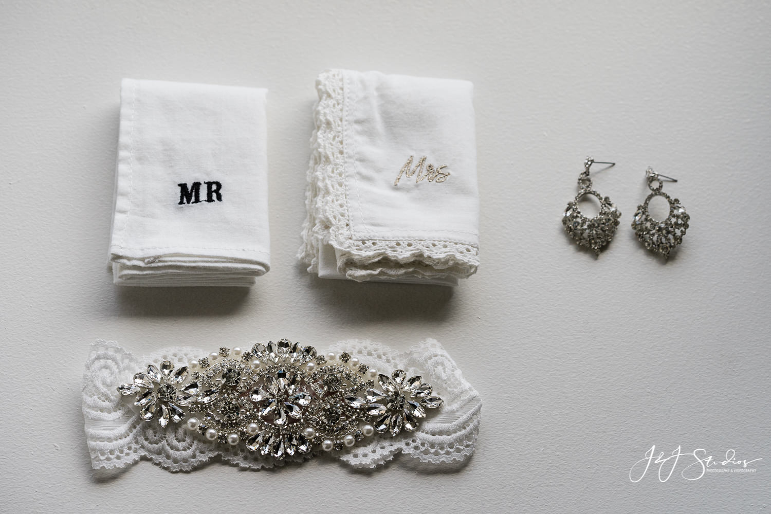 embroidered garter and handkerchief