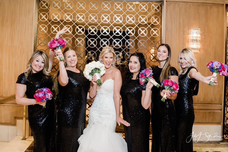bridesmaids in rittenhouse hotel lobby wedding photography