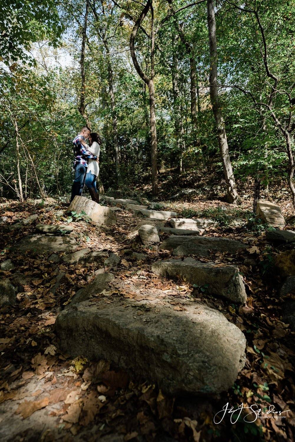 engaged couple in park Wissahickon Park Engagement