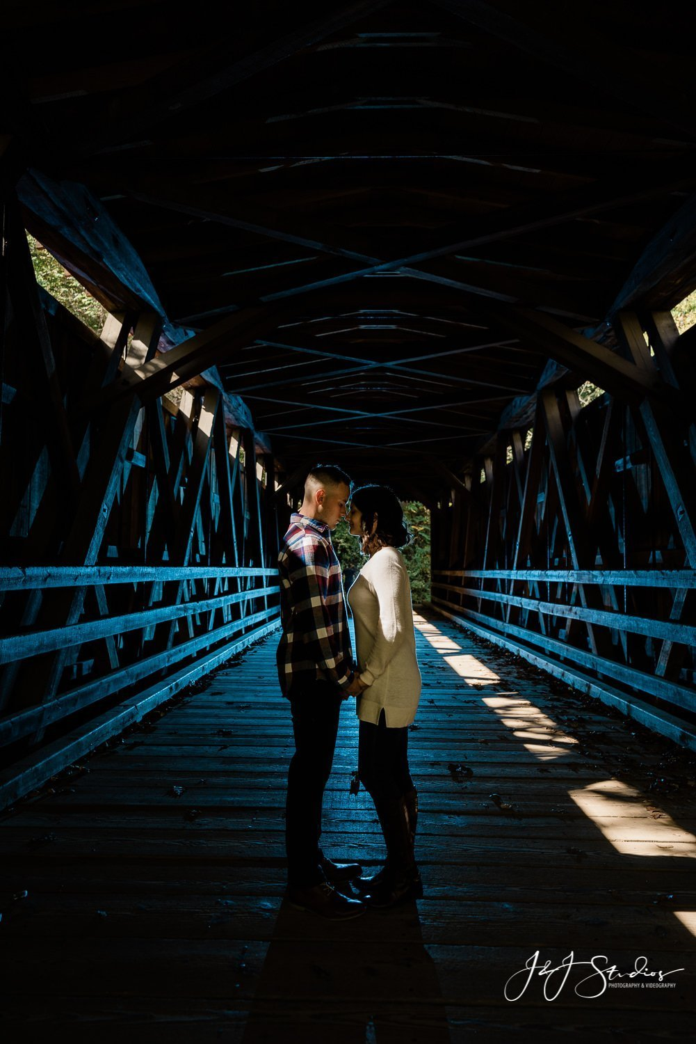 Thomas Mill Bridge silhouette engagement photo