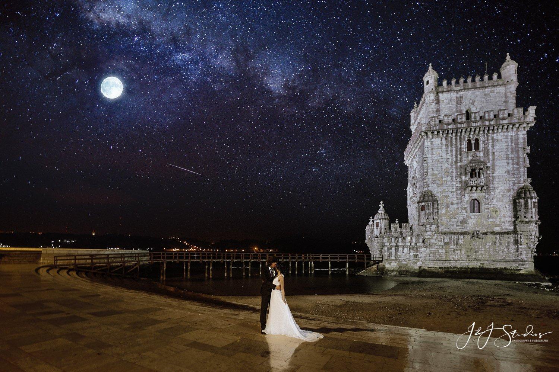 bridal portrait balem tower lisbon portugal