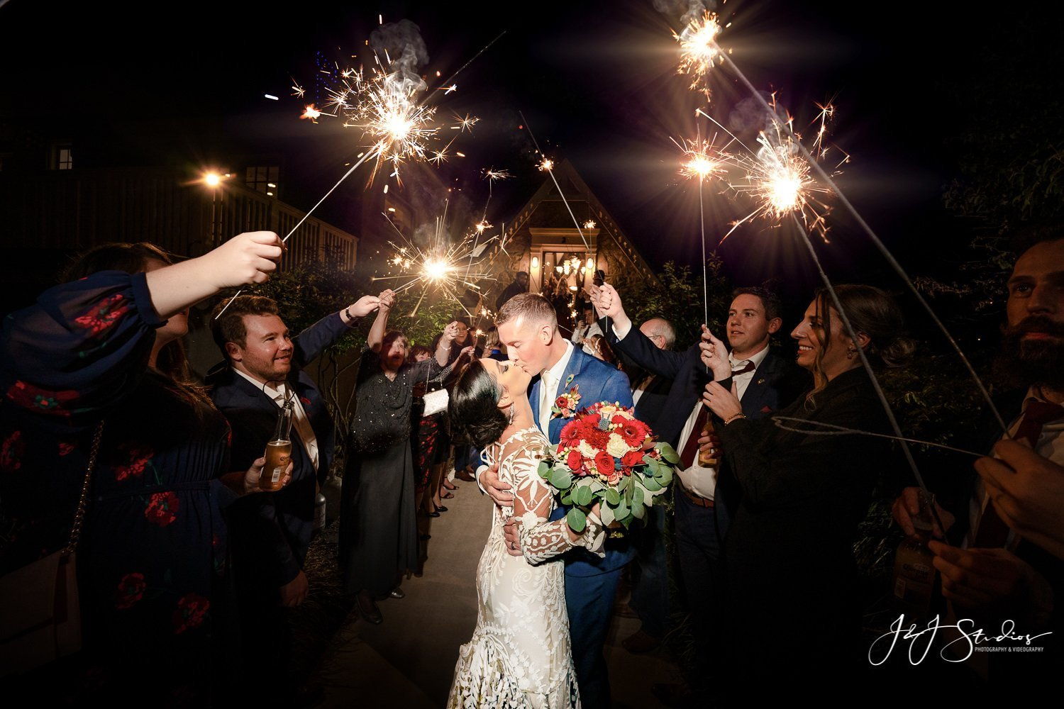 fairmount rowing association wedding sparkler exit by J&j studios