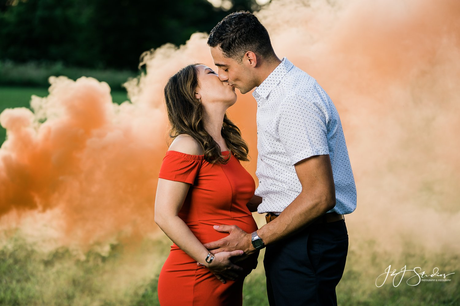 orange smoke maternity session