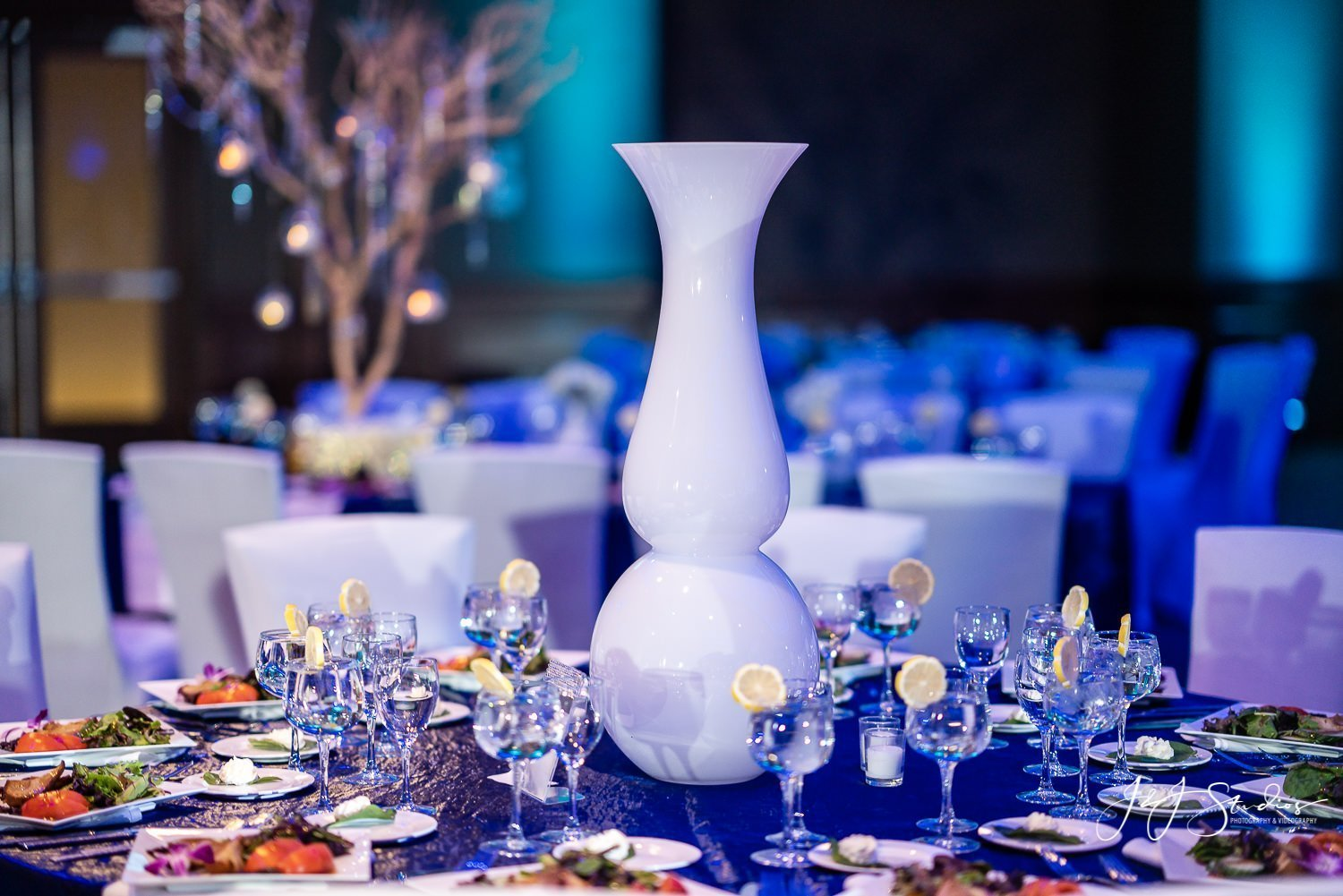 large vase centerpieces mae and company bat mitzvah