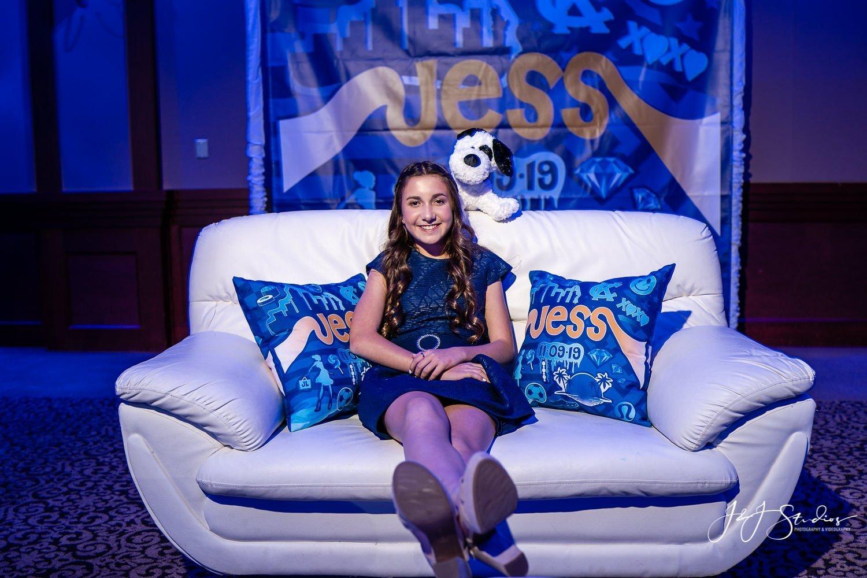 custom backdrop and pillows jess landau bat mitzvah