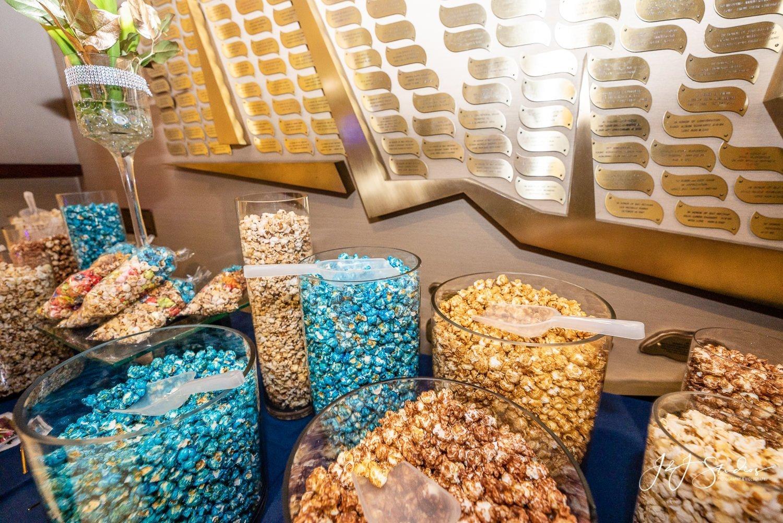 colored pop corn at a bat mitzvah party favors