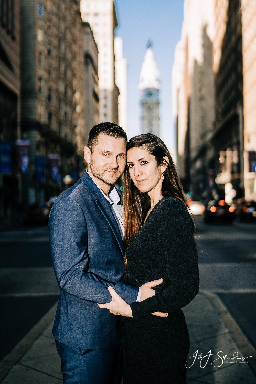 broad street bride engagement photos