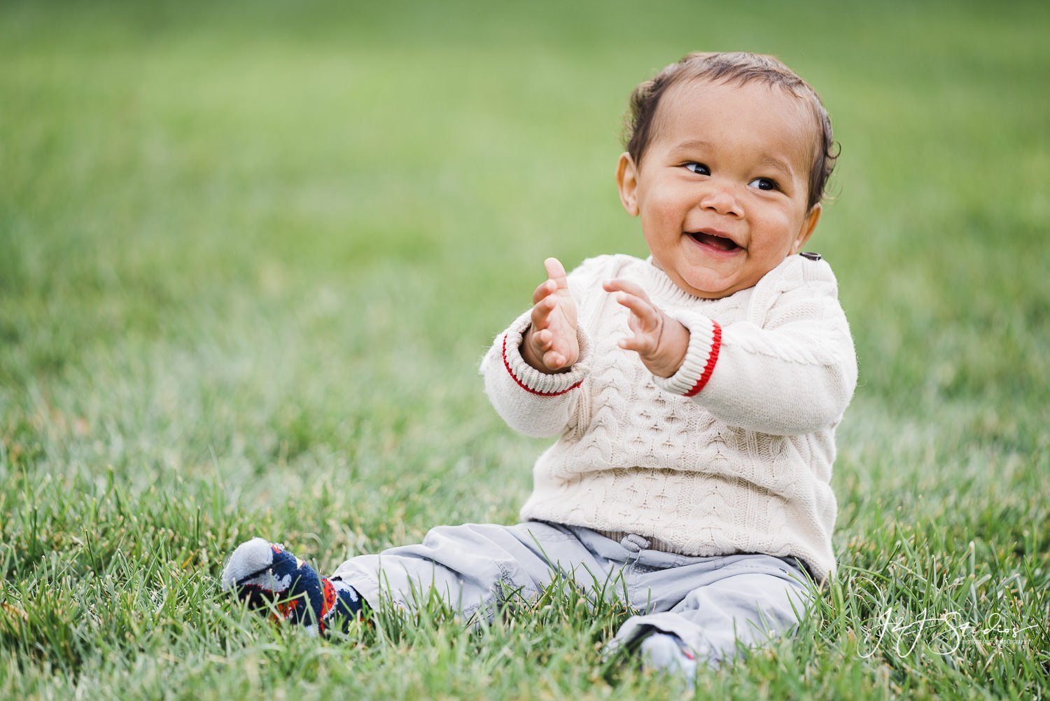 baby on grass at longwood