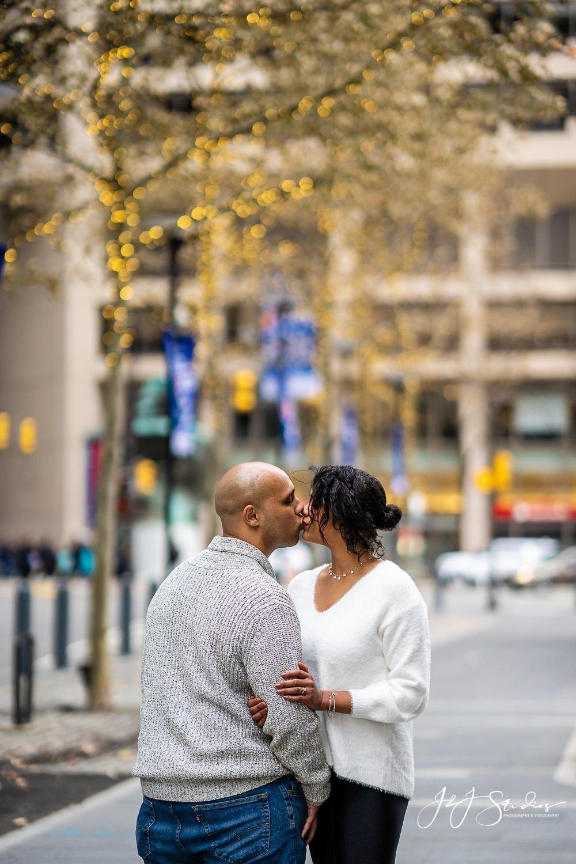 city hall chrismas engagement photos