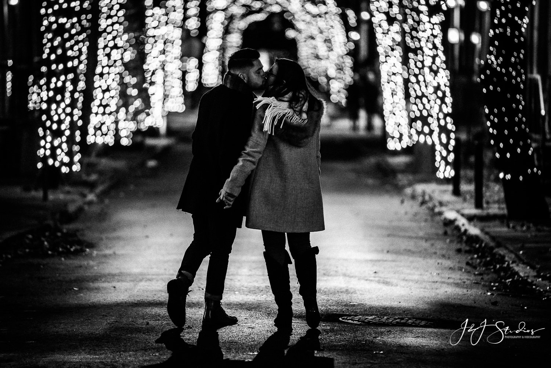 addison street christmas black and white proposal