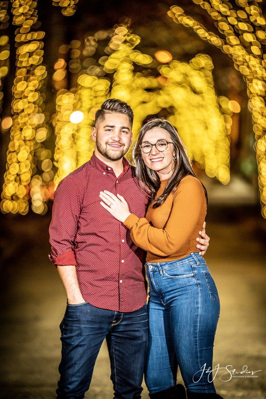 addison street christmas proposal couple