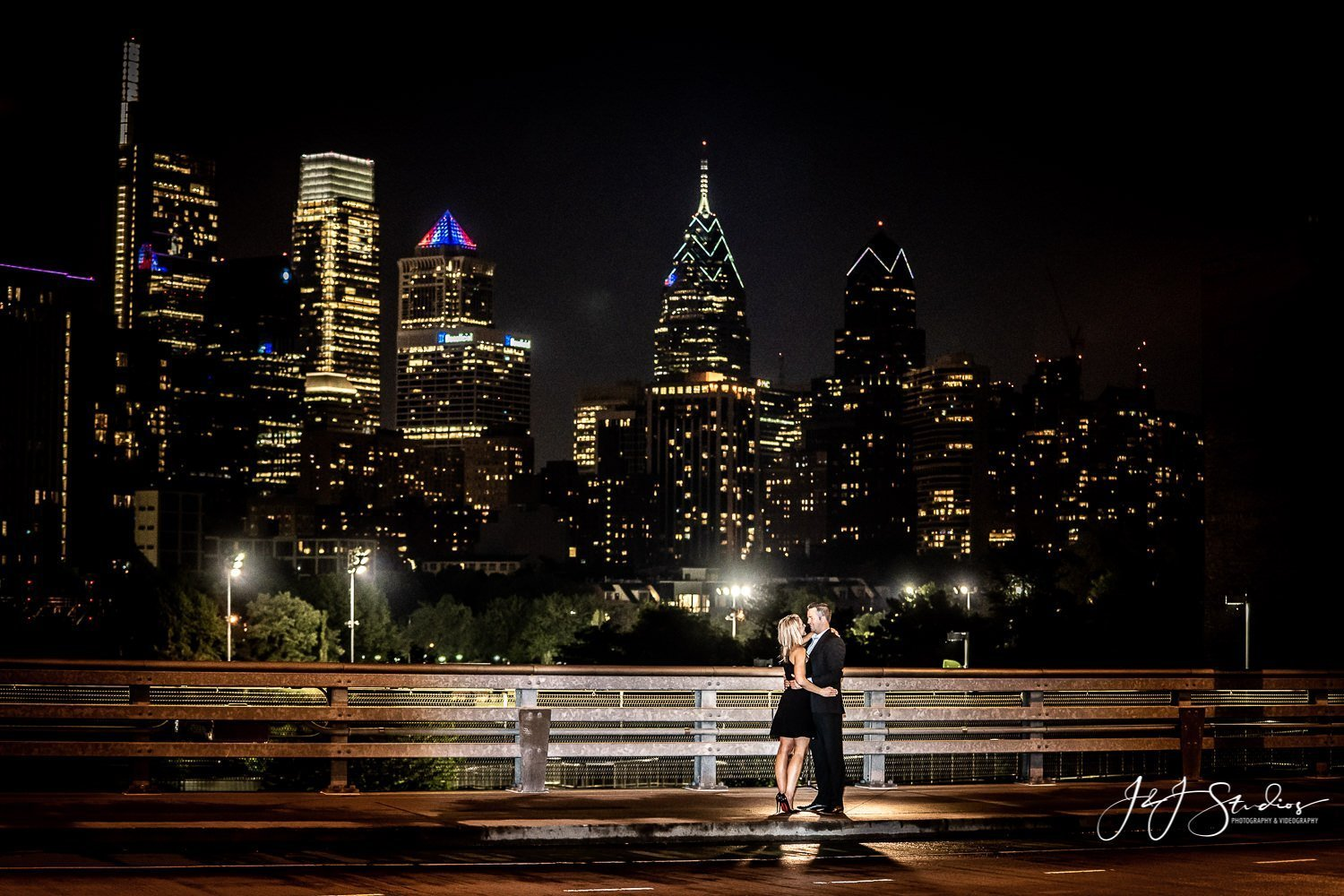 south street bridge night engagement photo philly