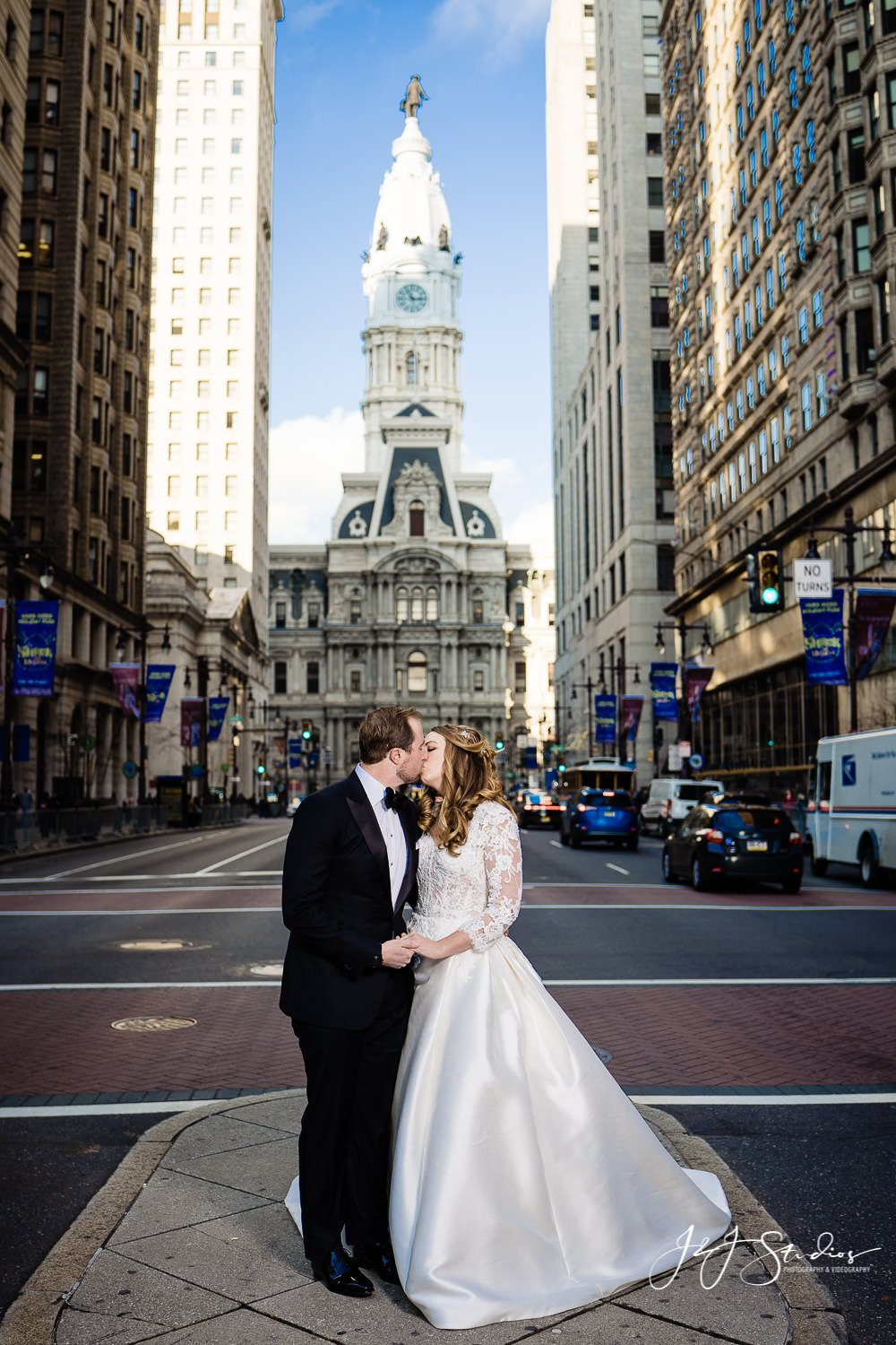 city hall bridal couple