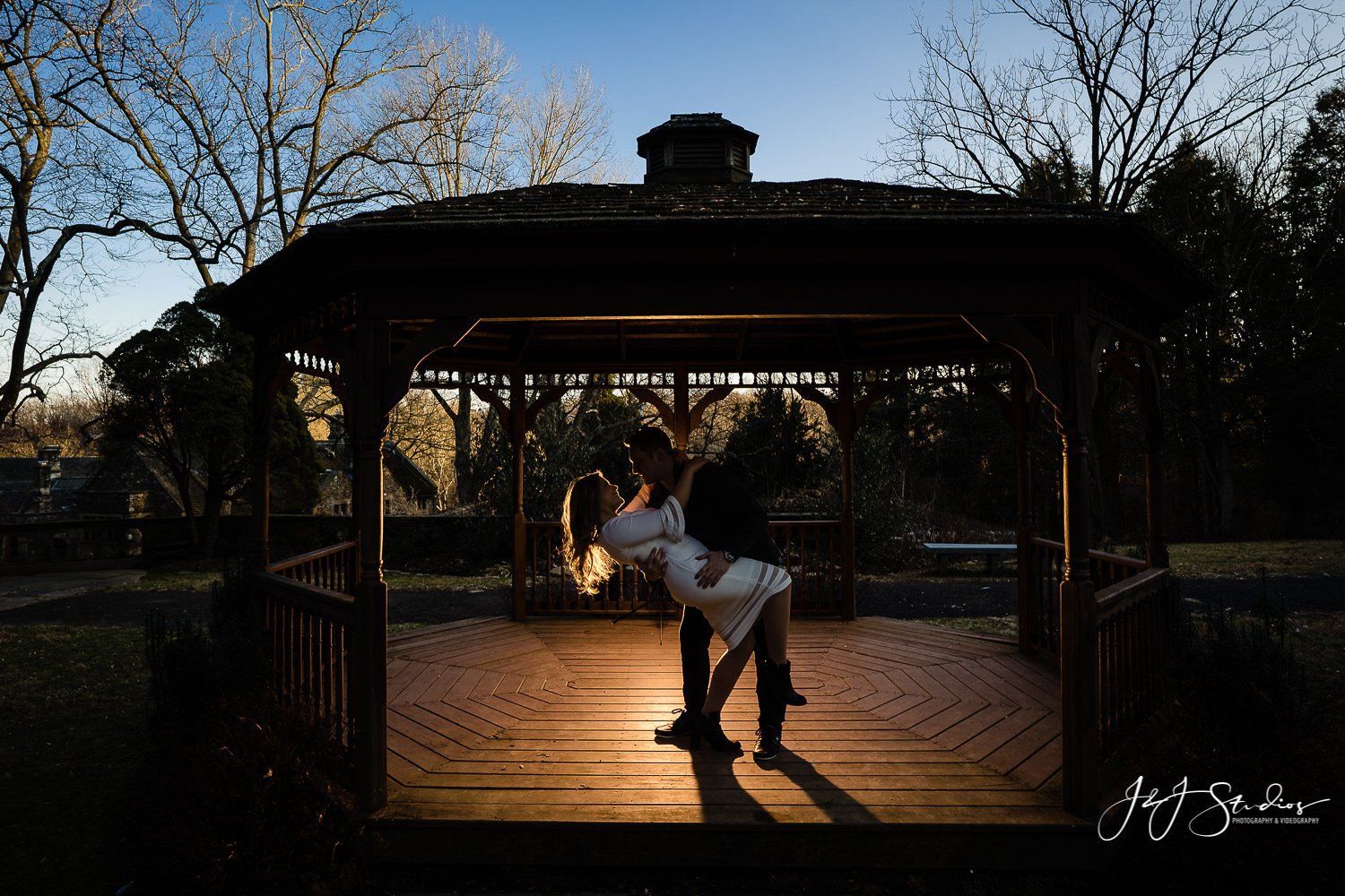 gazebo engagement photo