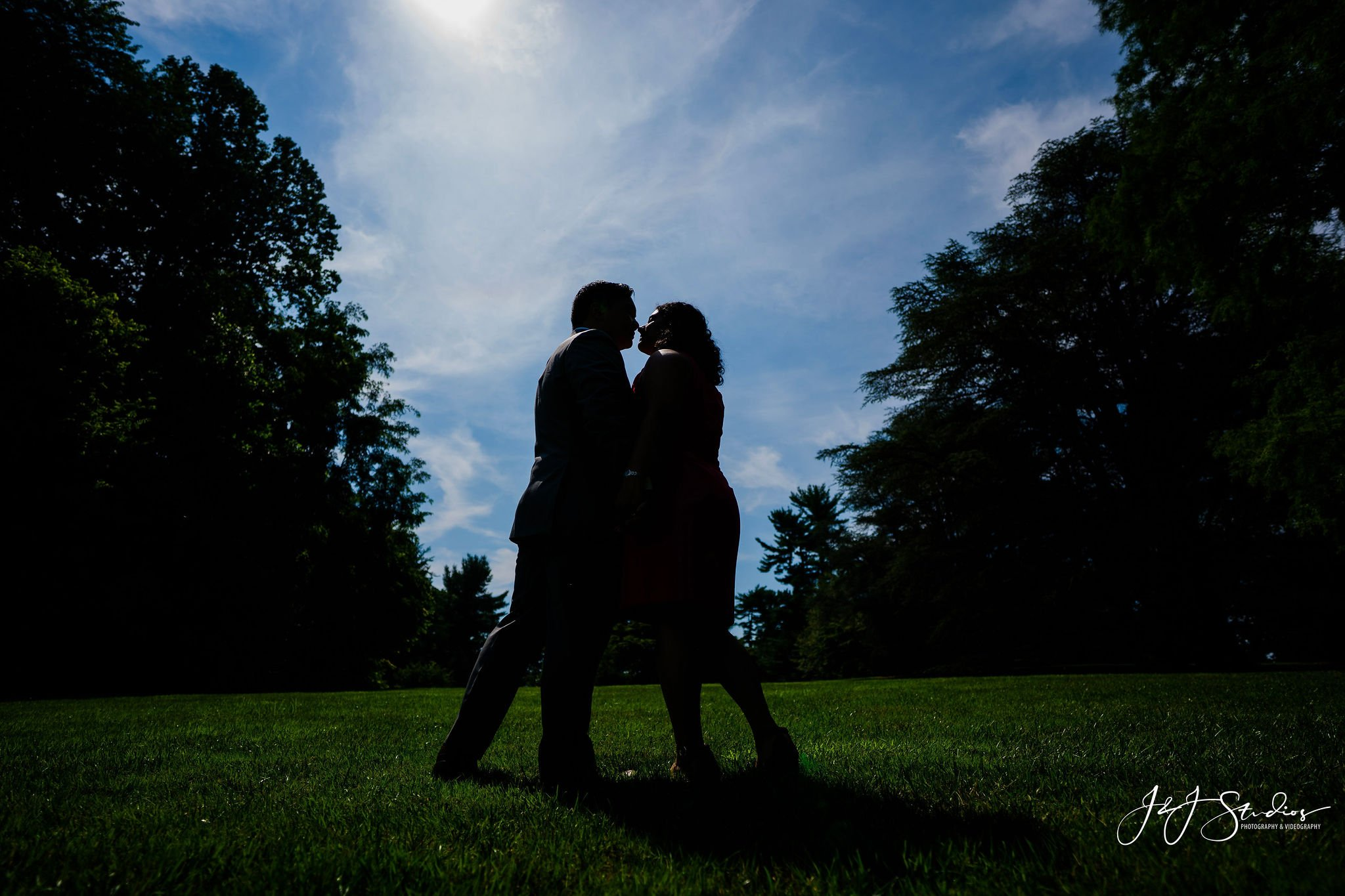 silhouette longwood gardens engagement