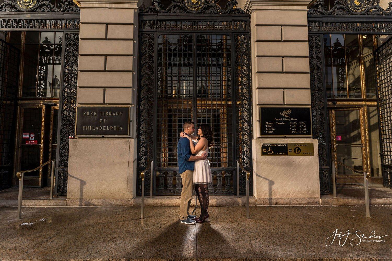 free library of philadelphia engagement shoot