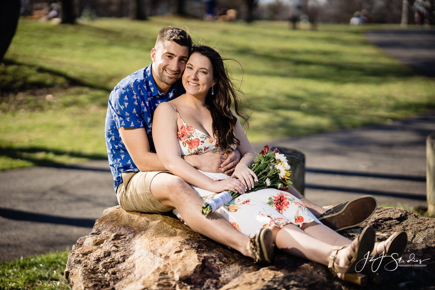 cute core creek park engagement