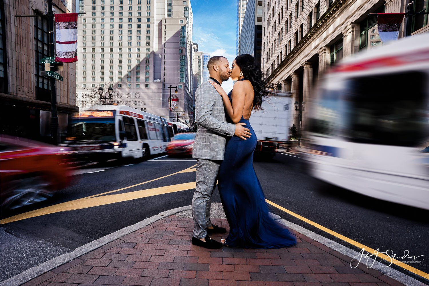 broad street time lapse engagement photo philly