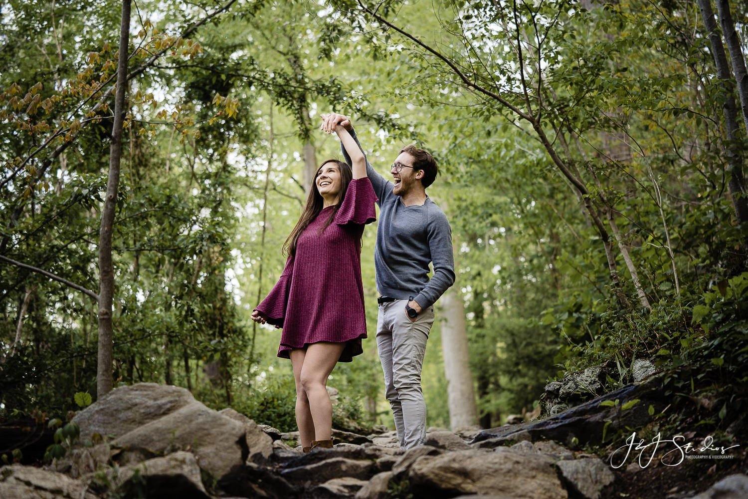dancing in the woods engagement