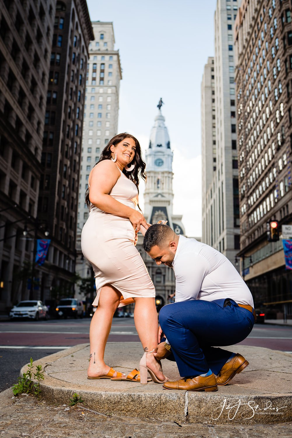 city hall engagement shoot