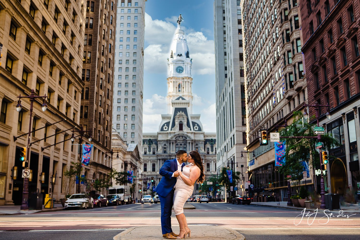 philly city hall engagement photo