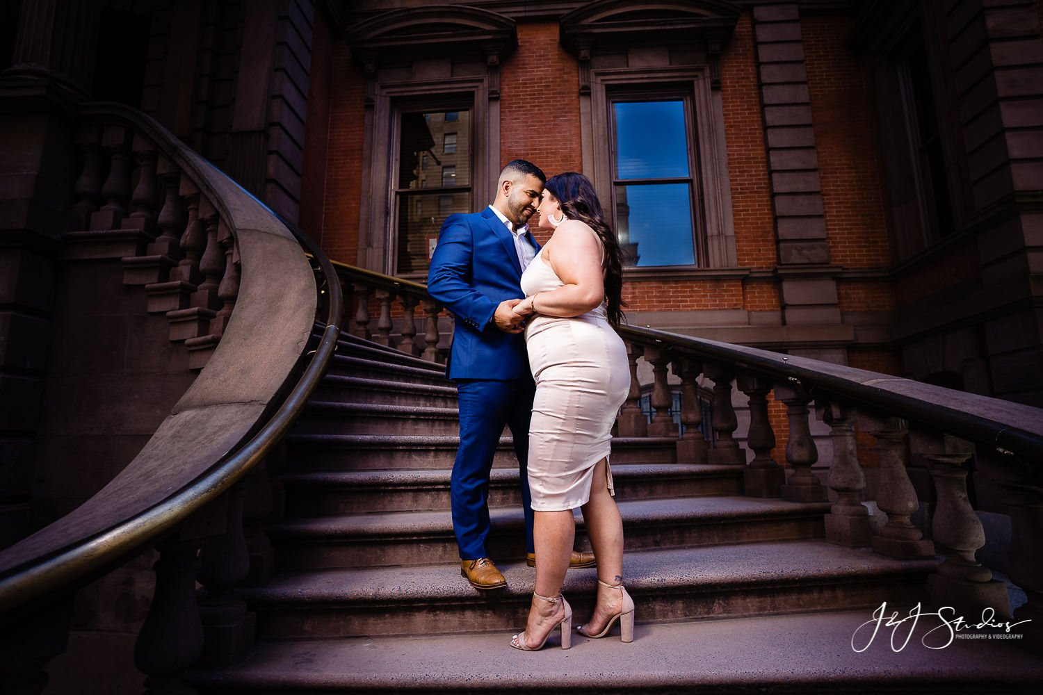 union league stairs engagement photo