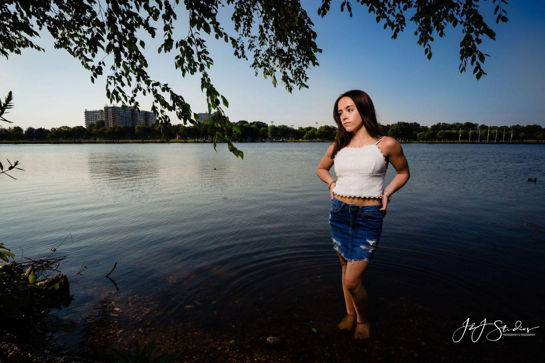 Cooper River Park lake white tank denim skirt NJ