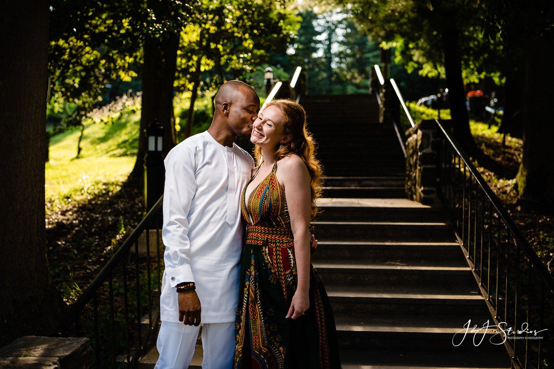 guy kisses girl steps trees Philly PA