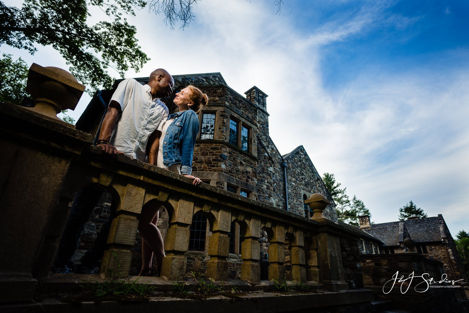 Hunting Hill Mansion engagement couple philly building historic