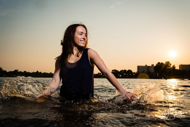 water sunset brunette black tanktop Brynn Hurley